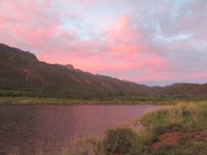 sunset over Nics dam