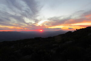 sunset on top of the mountain
