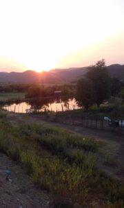 sunrise over farm